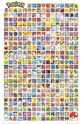 Pokemon Chart Poster   24X36 White Video Game 51930
