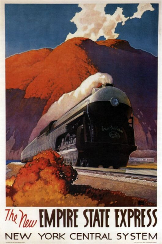 """The New Empire State Express- 1941- NY Central - 24x36""""  Vintage Railroad Art"""