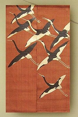 "Japanese curtain NOREN ""鶴"" lacquer dyed vermilion red Kyoto Manyosha"