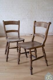 Restored & Re-loved Pair of Elm Kitchen Chairs on Turned Legs