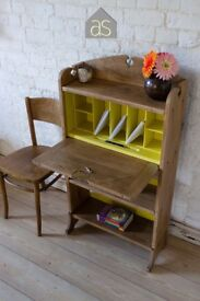Oak Student Bureau with a Yellow Chalk Painted Interior (63)