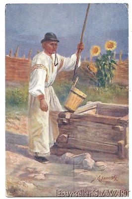 POSTCARD Slovak painting Piestany man folk costume at the village well 1913 art](The Village Costume)
