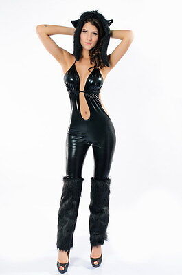 Cool Anime Outfits (Sexy Cool Black Cat Babe Fancy Dress Costume Slinky Jumpsuit Party)