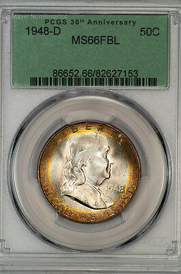Click now to see the BUY IT NOW Price! 1948 D FRANKLIN HALF PCGS MS66FBL FULL BELL LINES INTENSE RAINBOW 86652.35332X