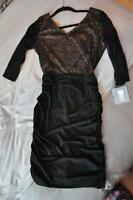 Andrew Marc New York Black Gold Or Noir Robe Dress Ruffle Lace 6
