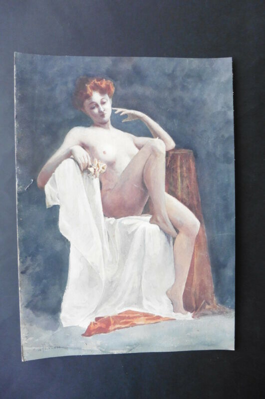 FRENCH SCHOOL 19thC - STUDY FEMALE NUDE - SUPERB WATERCOLOR