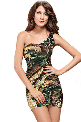 Ultra bodycon flattering One Shoulder With Feather Print Mini Party Dress - Party Dress With Feathers