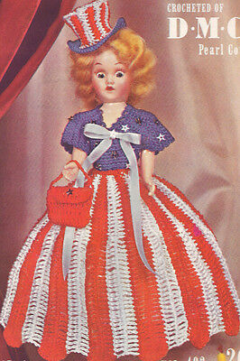 Vintage Crochet Pattern 8 Doll Clothes Dress Top Hat Bag Petticoat Miss Usa