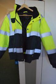 Mens Hi Vis Two Tone Bomber Jacket size S   Waterproof   Work Wear