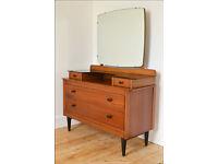 vintage dressing table Lebus retro danish design teak mid century 50`s