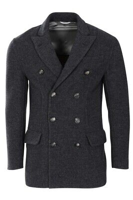 Brunello Cucinelli Caban Coat Men's 50 Dark grey Cashmere  Mottled for sale  Shipping to United States