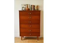 chest of drawers mid century Lebus teak vintage danish design loft