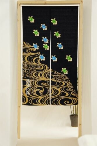 JAPANESE Noren Curtain HAPPY Turtle MADE IN JAPAN NEW 85x150cm COTTON