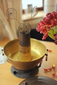 Vintage-Mongolian-Solid-Copper-Hot-Pot-Hotpot-Fondue-Steamboat-Fire-Pot