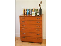 vintage chest of drawers teak mid century danish Shreiber on castors tallboy