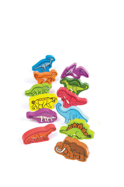 E0910 HAPE Wooden Roaming Dinosaurs [Qubes] Baby Toddler Children Age 12M+ 12pcs