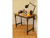 vintage console table desk hall window laptop table solid oak barley twist shabby chic