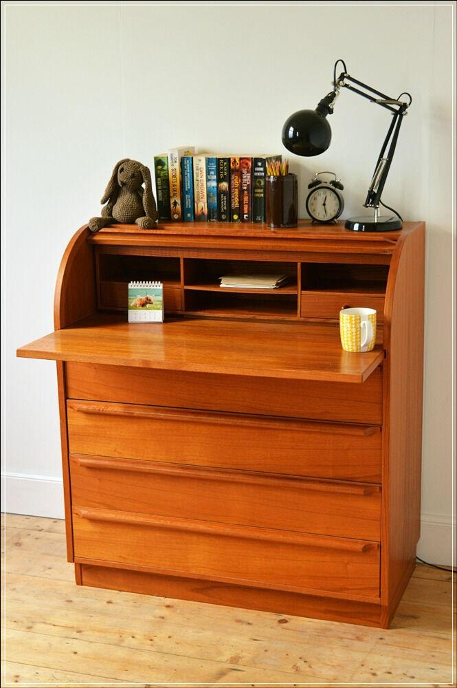Vintage Bureau Writing Desk Teak Mid Century Roll Top Danish Made In Denmark Skovby Mobelfabrik