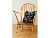 vintage genuine Ercol armchair chair blonde blue label