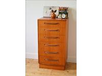 mid century vintage teak G Plan Fresco chest of drawers tallboy danish design