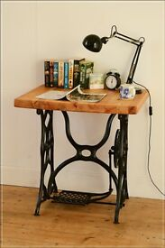 table laptop desk console table singer cast iron legs vintage antique pine