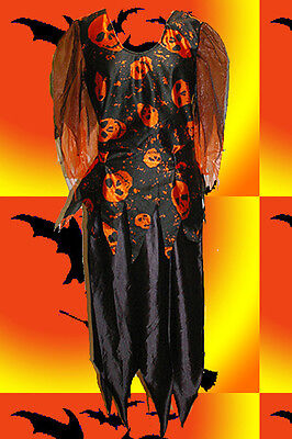 417✪ Damen Kostüm Halloween Witch Hexe Hexen Skull Scary Ophelia schwarz orange