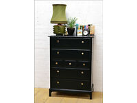 vintage chest of drawers Stag Minstrel danish black mid century