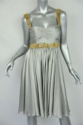 DOLCE & GABBANA Silver SILK+CHAIN EMBELLISHED Ruched Bustier/Evening Dress NEW S Chain Bustier Dress