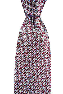 "New BRIONI Burgundy Blue Geometric 3.25"" 100% Silk Handmade Neck Tie NWT"