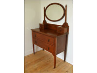antique Edwardian dressing table with mirror on castors vintage retro solid wood
