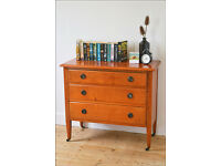 vintage retro chest of drawers solid oak Edwardian on castors