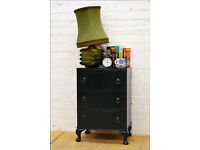 vintage chest of drawers bedside drawers retro queen ann legs Farrow Ball