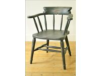 vintage captains chair armchair smokers chair desk chair painted shabby chic black antique retro