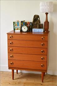 vintage chest of drawers Schreiber teak mid century danish design