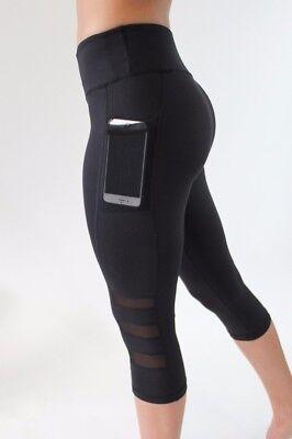 Sport Leggings Damen 3/4 mit Hüfttasche für Handy