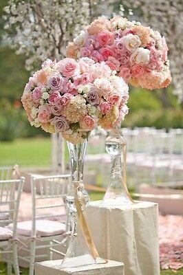 Clear Garnier Floral Trumpet Vase Wedding Centerpiece