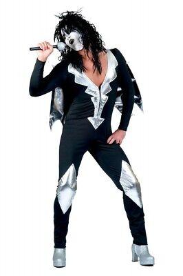 Glam Rock Herren-Kostüm Rockstar Overall mit Cape Schwarz/Silber Kiss Spaceman