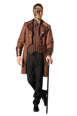 Brauner Steampunk Herren Mantel Schlagenmuster gestreifte Weste - Herren Viktorianischen Kostüm Muster