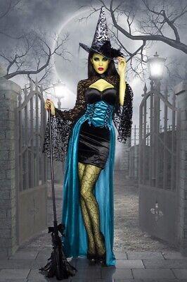VESTITO HALLOWEEN FEMMINILE ABITO STREGA NERO ADERENTE CAPPELLO MANTELLA UY 1356 - Vestito Halloween