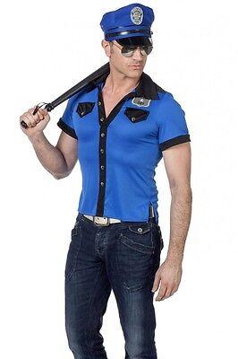 Polizei T-Shirt und Hut für Herren Oberteil Kostüm - Herren Cop Kostüme Tshirt