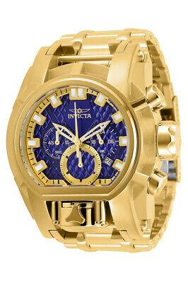 Invicta Reserve Mens Bolt Zeus Magnum 52MM Gold-Tone Blue Dial SS Bracelet Watch