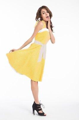 50er Jahre Rockabilly Kleid Sunny Gelb Vintage Punkte Retro Polka Dot Petticoat  ()