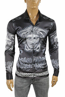 VERSACE Medusa Men's Dress Shirt Long Sleeve Navy blue/Black color 176 Size L