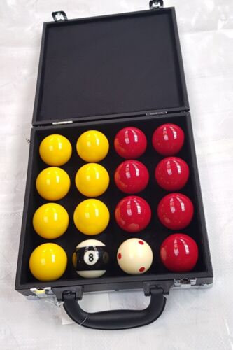 """SUPER PRO POOL BALLS MATCH 2"""" REDS & YELLOWS IN CASE WITH 1 7/8"""" TV CUE BALL"""