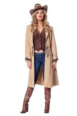 Cowgirl Damen Kostüm Mantel und Weste in Luxusausführung Western Wildleder-Optik