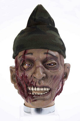 Halloween Horror Maske Zombie mit Mütze und Wunden Karneval Kostüm - Halloween Masken Und Kostüm