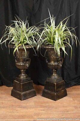 Pair Cast Iron Urns - Garden Campana Urn English Victorian Stands