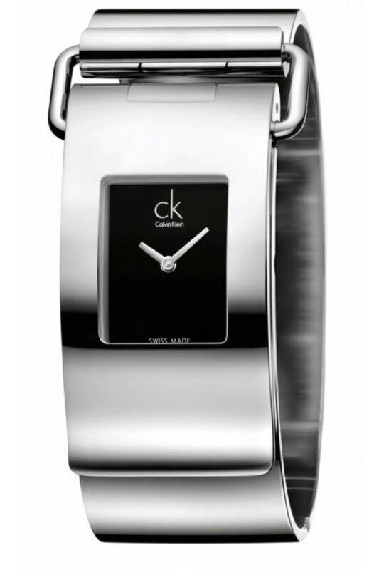 Calvin Klein Women Pump K3K2M111 18mm Black Dial Stainless Steel Bangle Watch