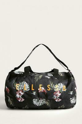 Ellesse Duffle Bag Barrel Pello Black Floral Logo Gym Sports Canvas One Size New