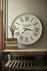Vintage Style Enameled Wall Clock Old Town Roman Numerals Oversized 27D